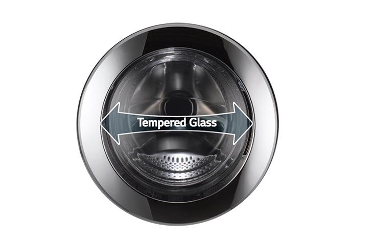Tempered glass protects the LG Giant C+ drum door from being scratched or broken